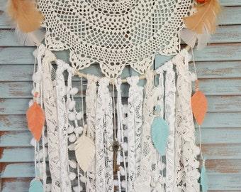 Coral and Teal Bohemian dream catcher//Bohemian Dream Catcher// boho//wedding decor//baby shower//home decor//