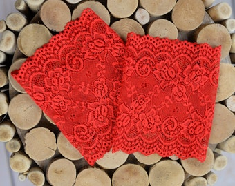 Savannah's Blood Red Lace Boot Cuffs