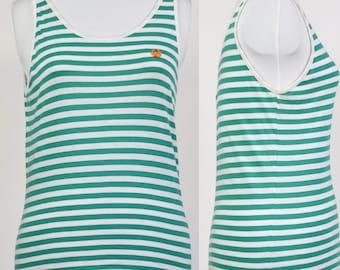 Vintage 80s Stefanel green and white stripe vest with orange logo size 12