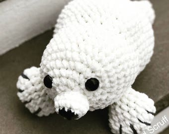 Snowball the Seal - Crocheted Plushie X-large