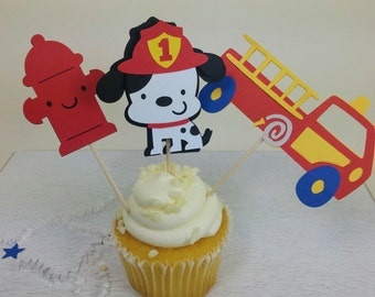 Firefighter Cupcake Toppers, Firefighter Party, Fire, Dalmatian
