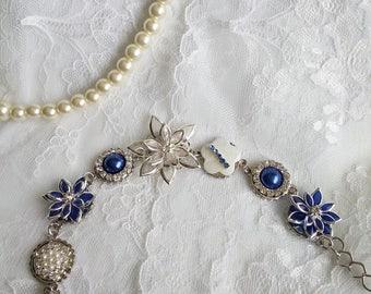 Bridesmaid bracelet,  Victorian bracelet, blue bracelet, floral bracelet , something blue, Marie Antoinette, Bridesmaids bracelet, OOAK