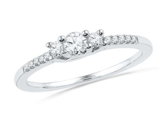 Accented Diamond Engagement Ring, Three Stone Sterling Silver or White Gold Ring