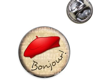 Red Beret Bonjour French France Lapel Hat Tie Pin Tack