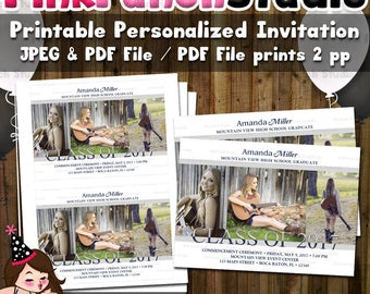 Personalized Printable Graduation Announcement Invitation Digital File PDF and JPEG