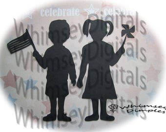 Patriotic Kids, Flag, Boy, Pinwheel, Girl, Digital Download, SVG Vinyl Cutting Design - DIY Reunion Tshirt, July 4th Parade Silhouette