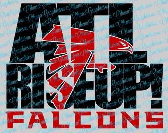 ATL Rise Up Falcons w/ Atlanta Falcons Symbol SVG