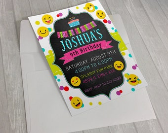 Digital Emoji invitation, emoji birthday invitation, emoji birthday party, emoji printable, emoji digital, smile Invitation, emoji card, art