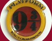Platform 9 3/4 Brooch, Vintage, Novelty, Rockabilly, Pinup, Acrylic, Resin, Pin, Hogwarts Express, Kings Cross Station, Harry Potter, Book