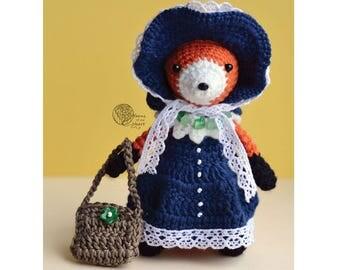 Crochet fox pattern, Amigurumi fox pattern, fox crochet pattern, crochet fox in clothes