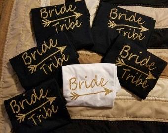 Heat transfer glitter viynl for bride and brides maids.