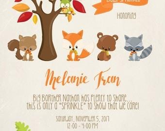 Woodland Baby Sprinkle Invitation, Fox Baby Sprinkle, Forest Baby Shower, Woodland Party Printable, Woodland Birthday Invitation