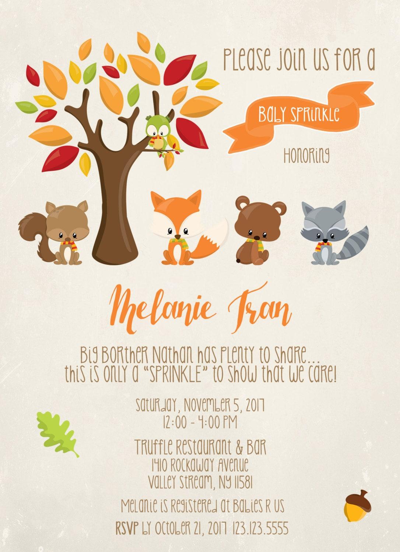 Woodland Baby Sprinkle Invitation, Fox Baby Sprinkle, Forest Baby ...
