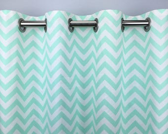 Mint Green Chevron Curtains  - FREE SHIPPING - Drapes - Drapery Panels- Rod Pocket- Grommets - Lined/Unlined- Valance- 24 50 x 84 96 108 120