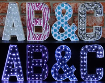 Marquee Letters - Lighted Letters - 8 Inch Paper Mache Letters with Battery Operated LED Fairy Lights - Patterned Background - Lighted Decor