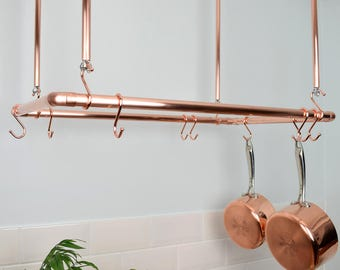 Copper Ceiling Pot and Pan Rack, Rectangular Shaped