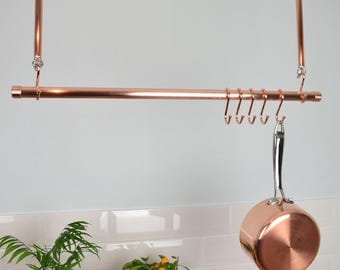 Copper Ceiling Pot and Pan Rail, Rack
