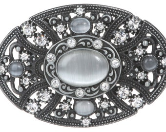 Oval Perforated Rhinestone Floral Belt Buckle (1401)