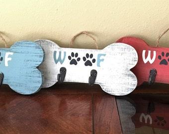2 Hook/Happy Walk Bone Shaped Wooden Dog Leash Holder/Distressed/Rustic/Woof/Dog Lover Gift/Walk the Dog/Handmade/New Pet
