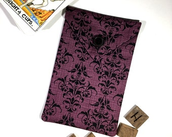 Damask Tarot Deck Bag - Purple Skull Damask Fabric Tarot Bag Goth Tarot Card Bag Gothic Tarot Pouch Pagan Yule Witchcraft Supply Witchy