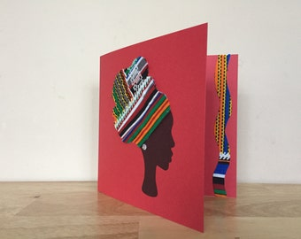 African print blank greeting cards in fabric, ethnic card, African woman  cards, colourful ankara print, high headwrap, UK free shipping