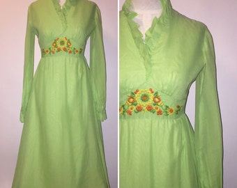 Vintage 1960s 1970s 60s 70s Lime Green Maxi Dress Gown Ruffles Embroidered Front Xsmall