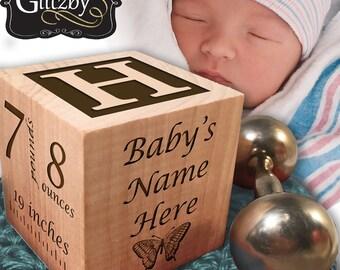 Classic Baby Block in Cherry, Newborn Keepsake New Baby Gift, Personalized Customized Newborn Wood Gift