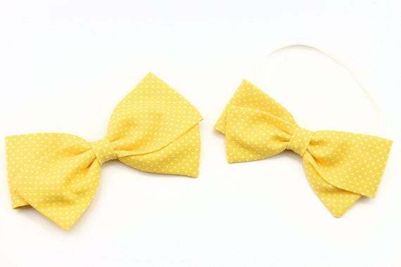 Baby bow, fabric bow, Yellow and white pin dot, toddler, baby girl, nylon headband or clip