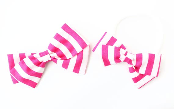 Baby Girl, Toddler, Fabric Bows, Newborn, Hand tied bow- Fuscia and white stripe