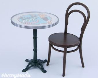 """Parisian Café"" table 1:6 scale miniature dollhouse and diorama"