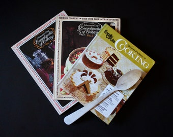 Set of 3 Vintage Cookbooks - 1960s/70s - great kitschy artwork and photos
