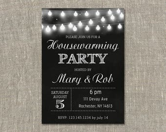 Housewarming Party Invitation, House Warming Party INVITATION, New Home Invitation, String Lights. Black and White