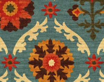 Queen Duvet Cover, Mayan Medallion Adobe Suzani, Reverses to Santa Maria Adobe- Blue, Walnut, Pumpkin, Maize. Sand
