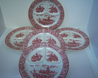 McNicol China, Clarksburg, W VA, M14, Five Red Transfer Ware Plates, Grill Plates, Pre Owned, Used, Holland Scenes, Windmills, Floral Border