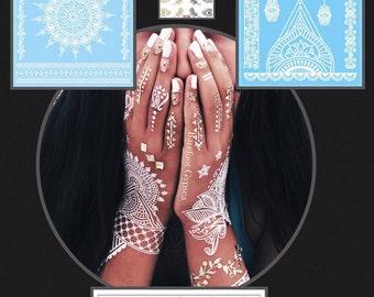 Boho Flash Tattoo pack Gold & White HENNA includes cuticle tattoo