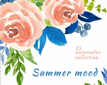 Summer mood - Hand Painted Watercolor floral clipart - Isolated elements - Flourish, rose, berry, flowers, boho, wedding, country, leaves
