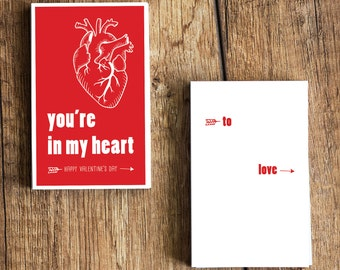 You're In My Heart - Funny Valentine's Day Card for Nurses- Download  and Print - Great for doctors, med students, medics