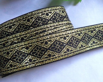 Jacquard Ribbon, 7/8 inch wide Black - Gold selling by the yard