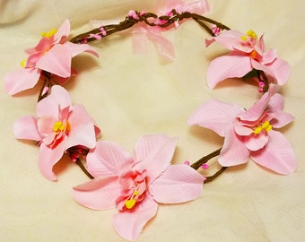 FREE SHIPPING! Exotic Adjustable Pink Orchid Floral women Hair Wreath/Wedding/Maternity Headband/Family PhotoProp