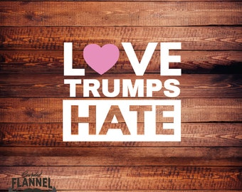 Love Trumps Hate Decal (Red, Bright Pink or Soft Pink) Car Decal, laptop decal, window decal, #lovetrumpshate - BF-D1030