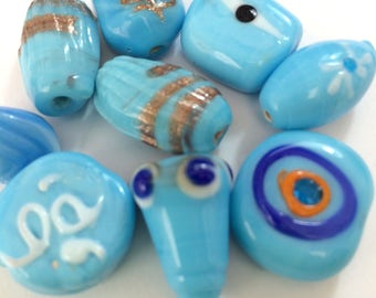 Pale Blue Decorated Beads