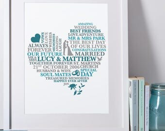 Wedding Print - Just Married Gift | Personalised Wedding Print | Personalised Wedding Gift | Wedding Art | Wedding Gift for Couple