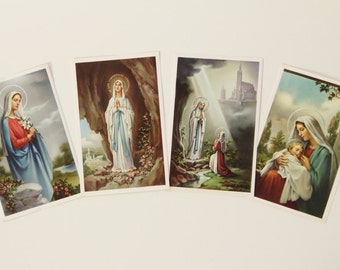 Lot of 4 Large Postcard Size Vintage Virgin Mary Holy Cards - Made in Italy