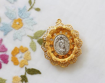 Large Catholic Gold & Silver Filigree Medal Pendant Our Lady of Guadalupe