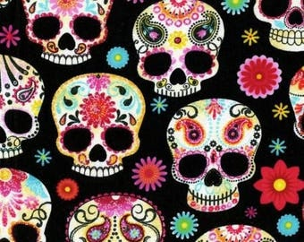 Colourful Sugar Skull Black cotton fabric