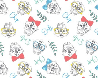 Disney Chip and Dale Geeky Cotton fabric