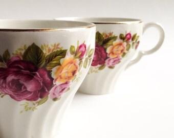 Teacups, Pink mugs, Vintage teacups, Pink tea cup, Vintage mugs, England tea Cup, English tea cup, Tea cup made in England.