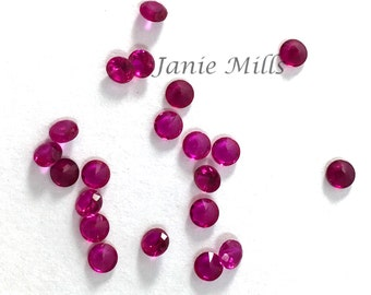 Ruby Faceted Gemstone 3 mm round pkg of 4