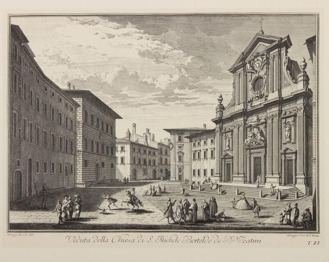 "Engraving ""Church Santi Michele e Gaetano, Florence"" by Giuseppe Zocchi, 19 century"