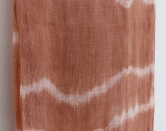 Naturally dyed terracotta striped linen scarf with tassels, perfect gift idea